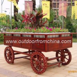 琥珀红手推车,琥珀色花车,移动花车