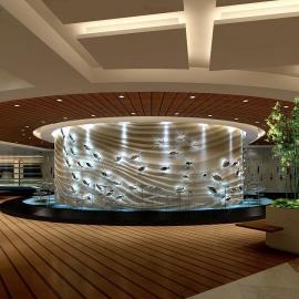 承接酒店大型亚克力鱼缸环保展示工程