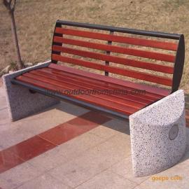实木公园椅,石脚公园椅,户外公园椅