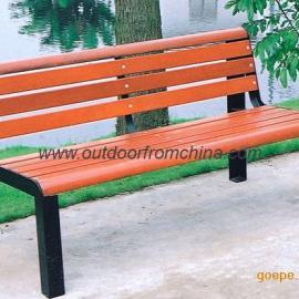 橙色公园椅,实木公园椅,钢铁脚公园椅