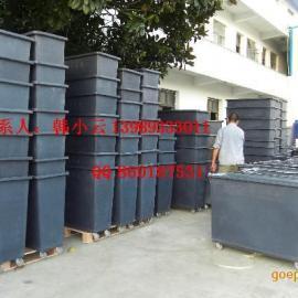 滚塑推衣桶,移动式方形塑料桶,杭州300L带轮子方形周转桶