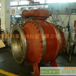 Q347F大口径国标铸钢法兰固定球阀