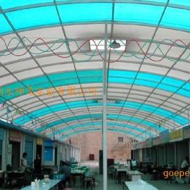 阳光板弧形顶棚(阳光板弓形顶棚)阳光板拱形顶棚