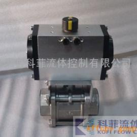 Q611F气动不锈钢三片式丝扣球阀