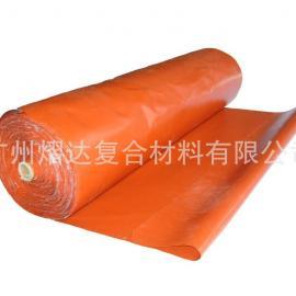 供应1.0厚红色双面不夹钢丝硅钛防火布