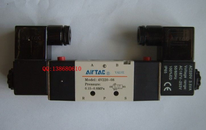 亚德客气动元件两位五通双电控电磁阀4v220-08图片