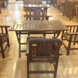 炭烧木休闲桌椅-苏州炭烧木休闲椅-炭烧木户外桌椅