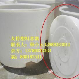 圆形带叉车?#20449;?#22609;料圆桶,滚塑印染桶/厦门1立方叉车圆桶