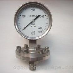 100MM径向全不锈钢隔膜式400MBAR膜盒压力表