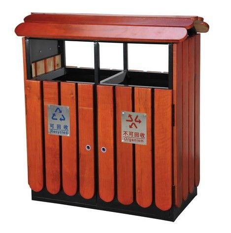 东莞长安双桶钢木垃圾桶 垃圾箱 果皮桶 特价销售