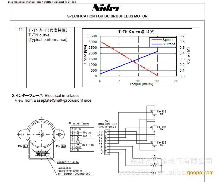 日电产nidec水阀风阀用外转子直流无刷电机图片