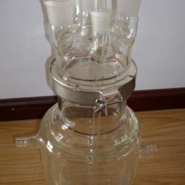 双层平底玻璃反应釜|简易双层玻璃釜|武汉小型玻璃反应釜厂家