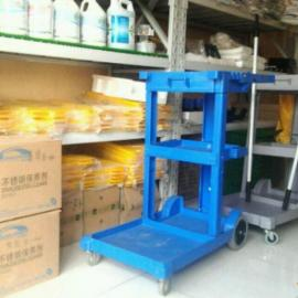 青岛多用途清洁手推车塑料杂物车服务车保洁车收集车布草车