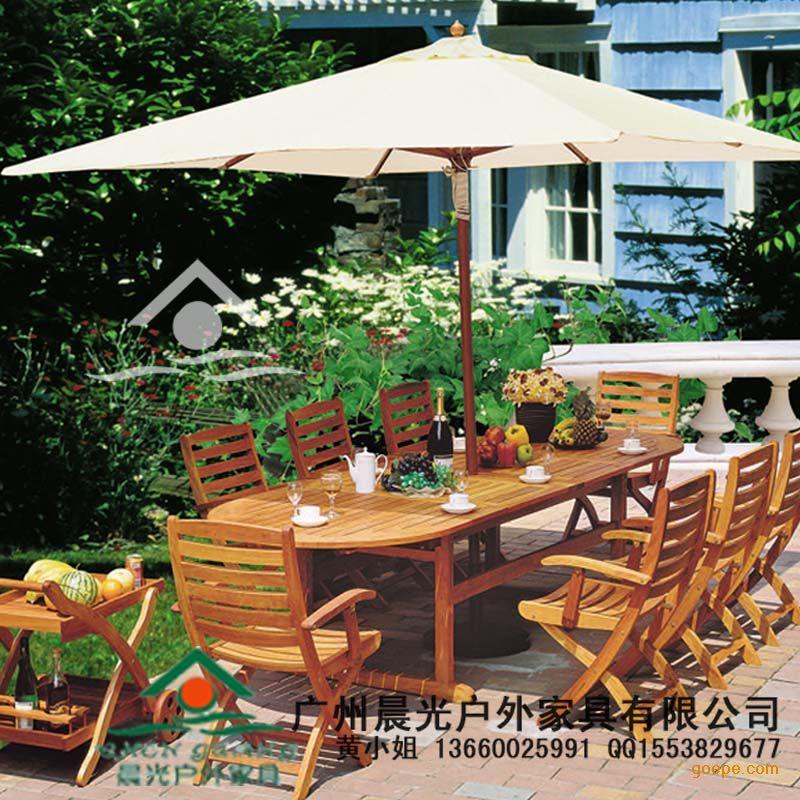 园林桌椅/休闲桌椅带伞/户外木桌椅/花园庭