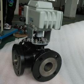 DN150三通T型法兰铸钢电动球阀