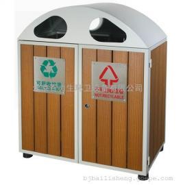木条垃圾桶 分类垃圾桶 钢木垃圾桶