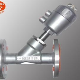 YJ644F全不锈钢法兰式气动角座阀,气动不锈钢法兰角座阀