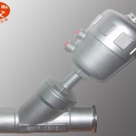 YJ684F全不锈钢快装式(卡套式)气动角座阀,气动斜座阀