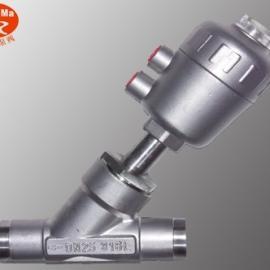 YJ664F焊接式气动角座阀,不锈钢对焊气动角座阀
