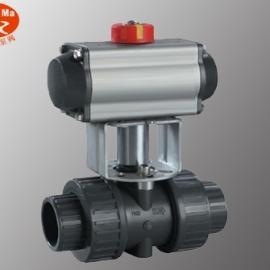 气动塑料球阀,UPVC双由令气动球阀,PPR气动双由令球阀
