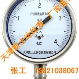 不锈钢膜盒压力表YE-100,天津压力表
