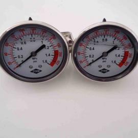 重庆水处理配件、压力表、不锈钢充油耐震压力表、轴向