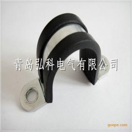 弘科双面包胶金属管卡,连胶条卡箍