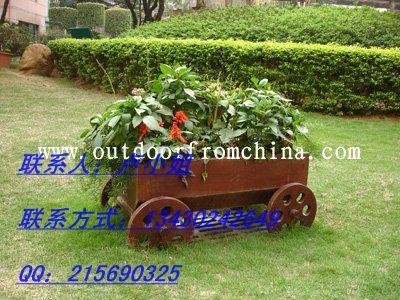 木质花箱;步行街时尚花车
