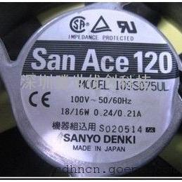 日本三洋100V16W散热风扇109S075UL115V