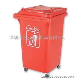 学校用60L四轮移动塑料垃圾桶