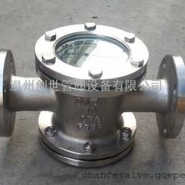 不锈钢法兰直通视镜DN65四通管道试镜铸造阀体耐高压