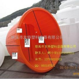 2吨叉车桶,带拖盘的塑料桶,带叉车底盘塑料桶