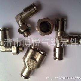 【厂家供应】全铜金属快插接头/PG变径铜镀镍接头 PG8-6