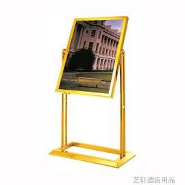 订做不锈钢宣传告示牌《迎宾牌》广西钛金立式指示牌批发价格