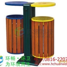 供应青海户外钢木垃圾桶 木条垃圾桶