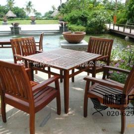 户外实木桌椅,菠萝格休闲家具