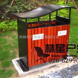 户外分类果皮箱,实用钢框架木条垃圾桶5019