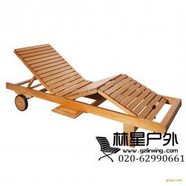 印尼菠萝格沙滩椅,户外实木躺椅2025