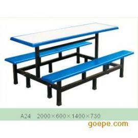 四川快餐桌/六人位连体桌/快餐桌椅/食堂快餐桌/长凳快餐桌