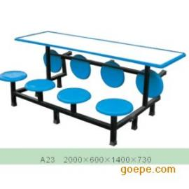 玻璃钢餐桌/八人位连体桌/快餐桌椅/食堂快餐桌/长凳快餐桌