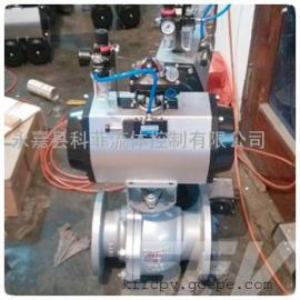 带三联件气动铸钢法兰球阀Q641F-16C