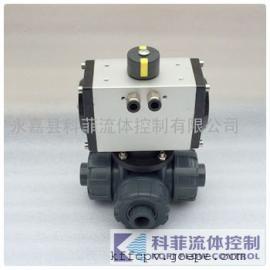 Q615F气动三通塑料球阀(T型)