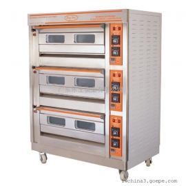 两层四盘燃气面包烤箱  恒联喷涂燃气商用烤箱