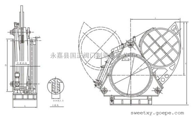 f743x液动盲板阀结构组成及特点用途液动扇形盲板阀主要由左阀体,右