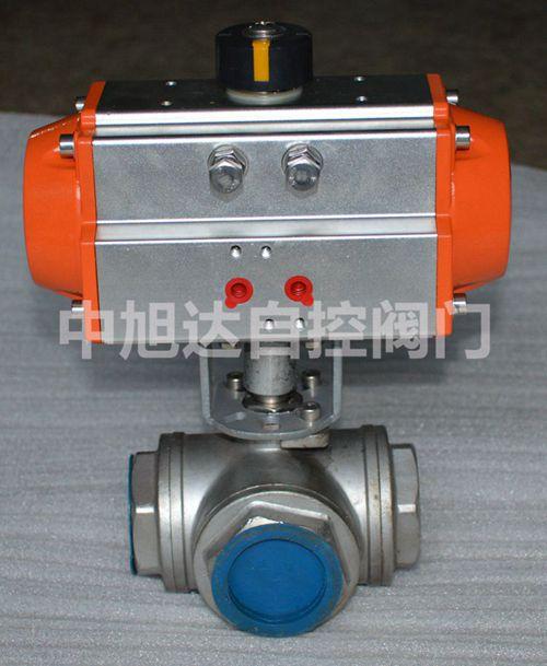 气动内螺纹三通球阀|t型丝扣球阀|不锈钢气动三通内图片