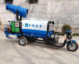 电动三轮洒水车带雾炮小型多功能环卫市政工地洒水车道路降尘车