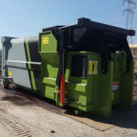 配合重型拉臂车的可移动式水平压缩垃圾中转站