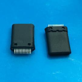 全塑3.1 Type C公�^USB TYPE C�A板式 黑色�z芯 �y��^使用