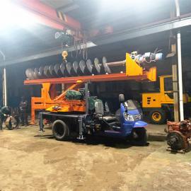 时风三轮改装多功能钻桩机 宅基地地基钻孔机 小型螺旋式钻桩机