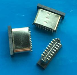 3.1立�NTYPE-C USB公�^16P立式�N片H7.2mm短�w180度�N板SMT